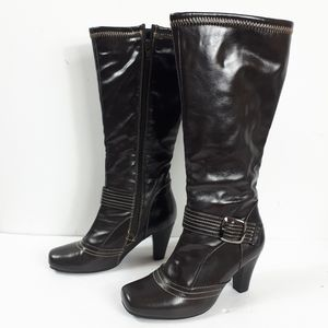 Alberto Brown Buckled Tall Boots Sz 6